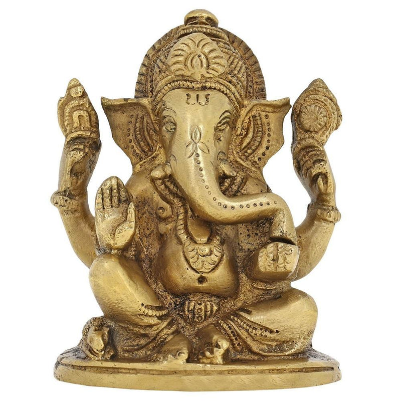 Classic Ganesha Statue Brass for Performing Puja at Home Temple Mandir H -3.75 Inch; L-3 Inch;W- 2.25 Inch Weight: 1.1 Kg