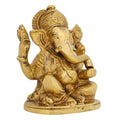 Brass Metal Art Seated Elephant Headed Lord Ganesha God Of Luck Indian For Puja 4 Inch