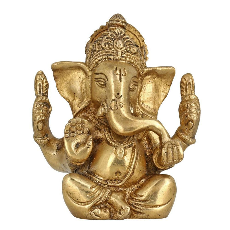 God Of Luck Seated Lord Ganesha Religious Gifts Brass Metal Art Home Décor For Puja 4 Inches