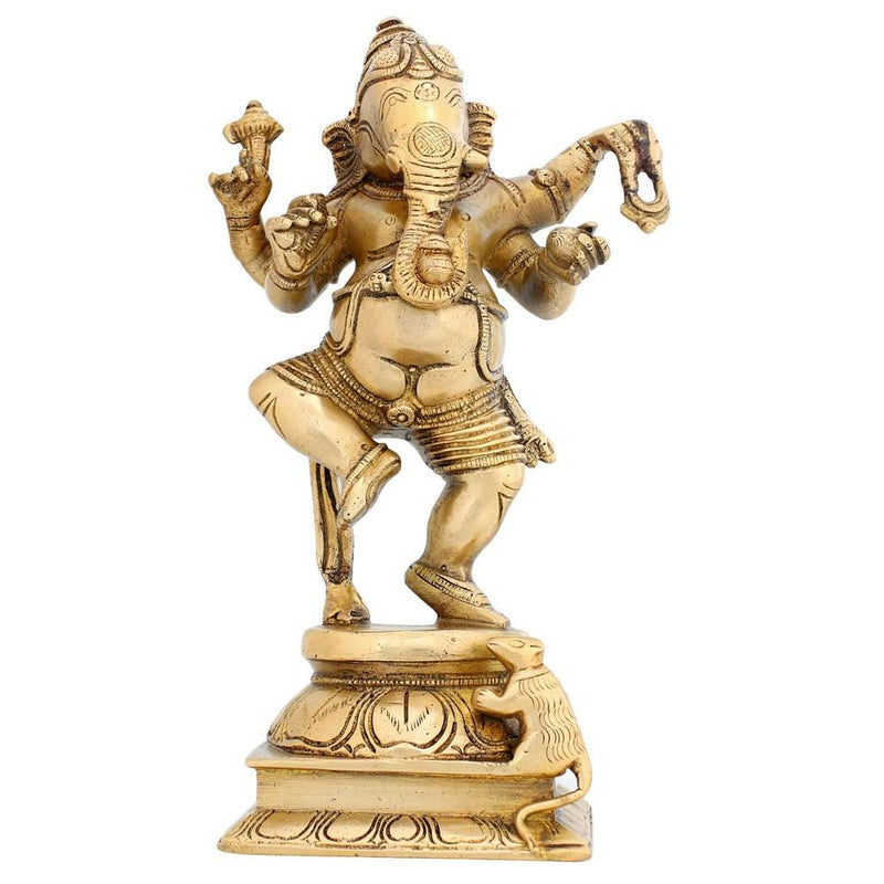 Dancing Ganesha Statue Hindu Brass Sculpture for Home Décor 8.5 X 5 Inches Religious Gifts