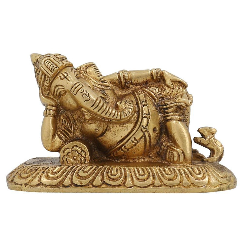 Indian Decor Hindu God Ganesha Reclining on Pillow Small Brass Statue 4 inch