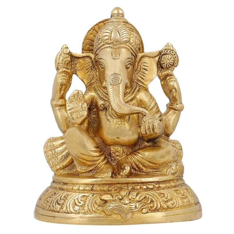Handmade Indian Brass Lord Ganesha Statue - Hindu Religious Items for Home Puja or Temple - 5 Inches Tall