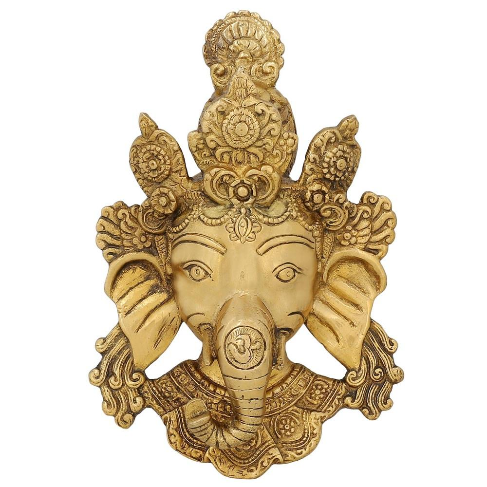 Brass Sculpture From India Face Of Ganeha Wall Decal Religious Home