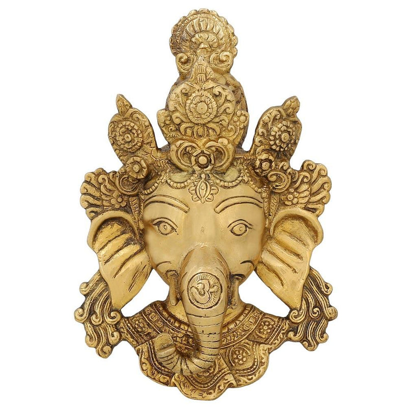 Brass Sculpture From India Face Of Ganeha Wall Decal Religious Home Decor Idea 8 inch
