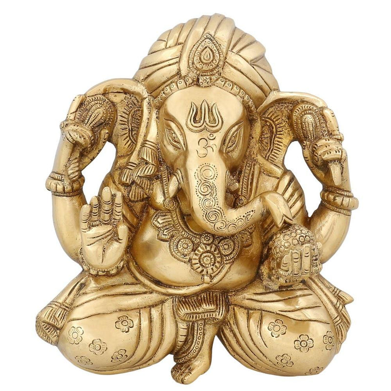 Ganesha Art Work Hindu Decal Religious Gifts Indian Room Decor Brass Statue 9 inch -2.37 kg