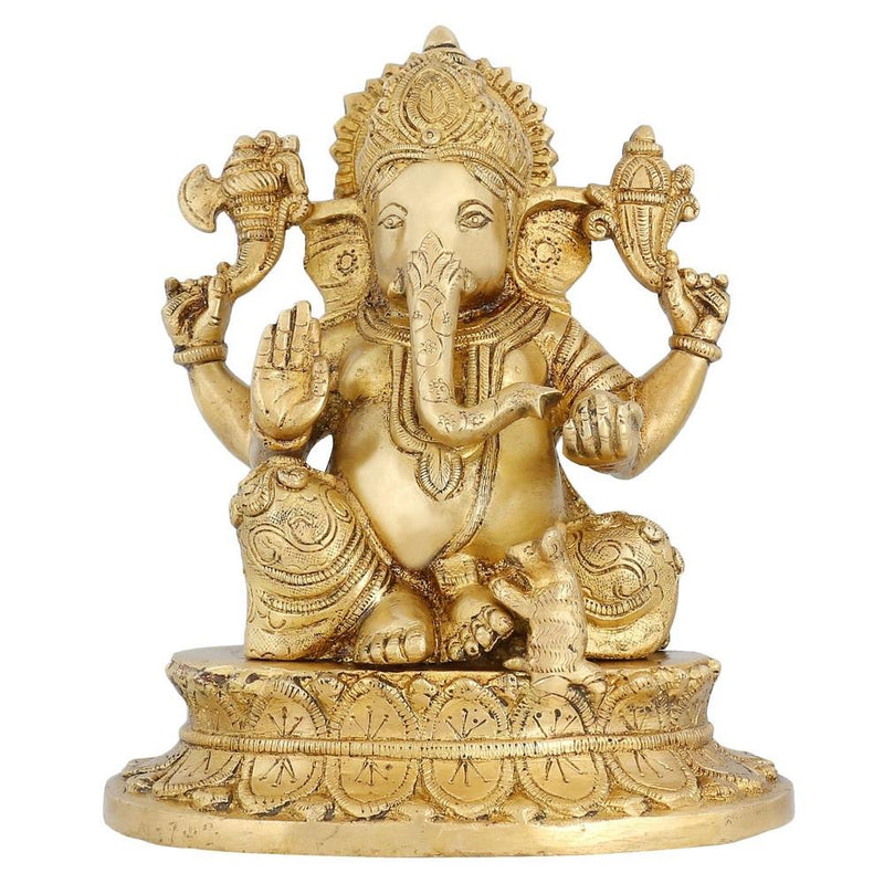Brass Statue Hindu God Idol Ganesh For Puja Hindu Mandir At Home 8.5 inch