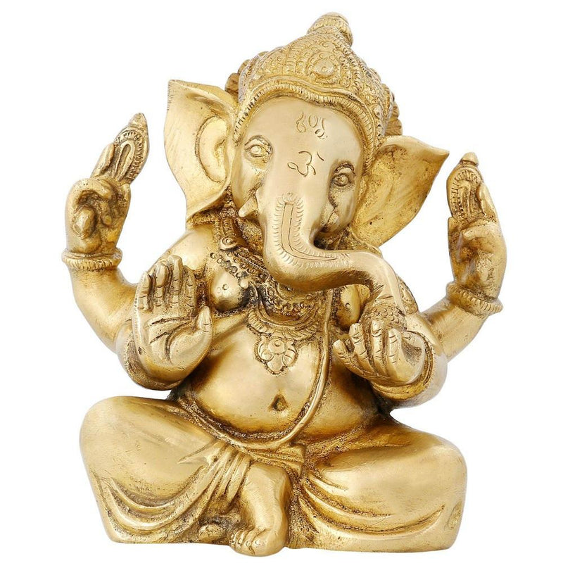 Hinduism Symbol Seated Lord Ganesh Sculpture Hindu God Decor 6.5 inch 2.12 kg