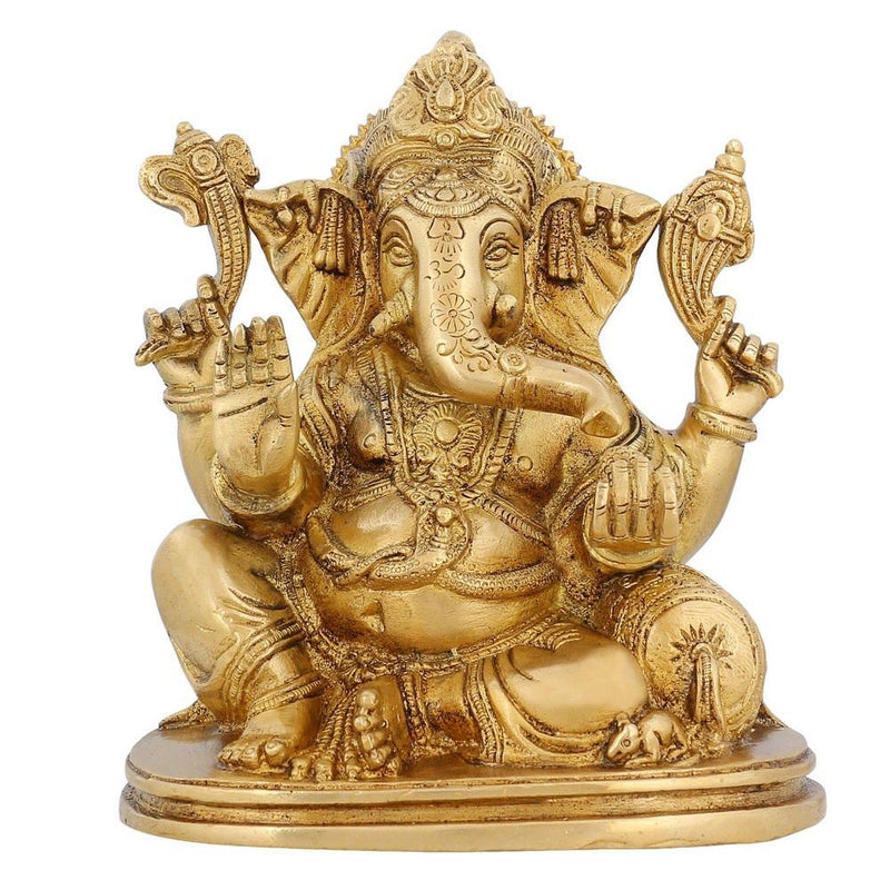 Hinduism In India Ganesha Statue Brass Religious Décor Hindu Pooja Temple 7 inch