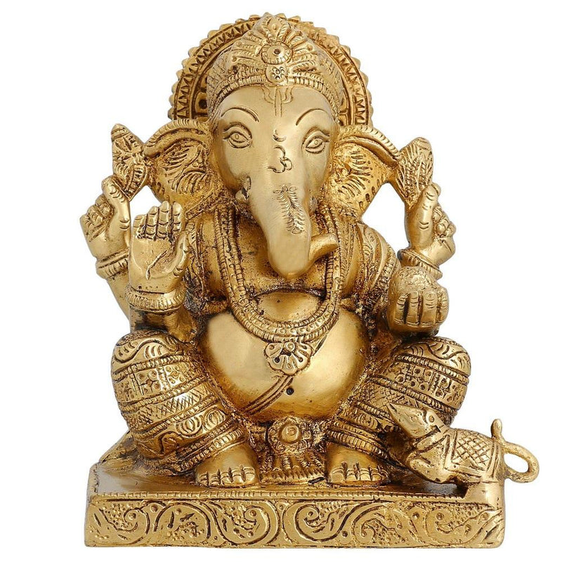Hindu God Ganesha Brass Statue Religious Gifts For Mom Hinduism Decor 6.5 inch -1.99 kg