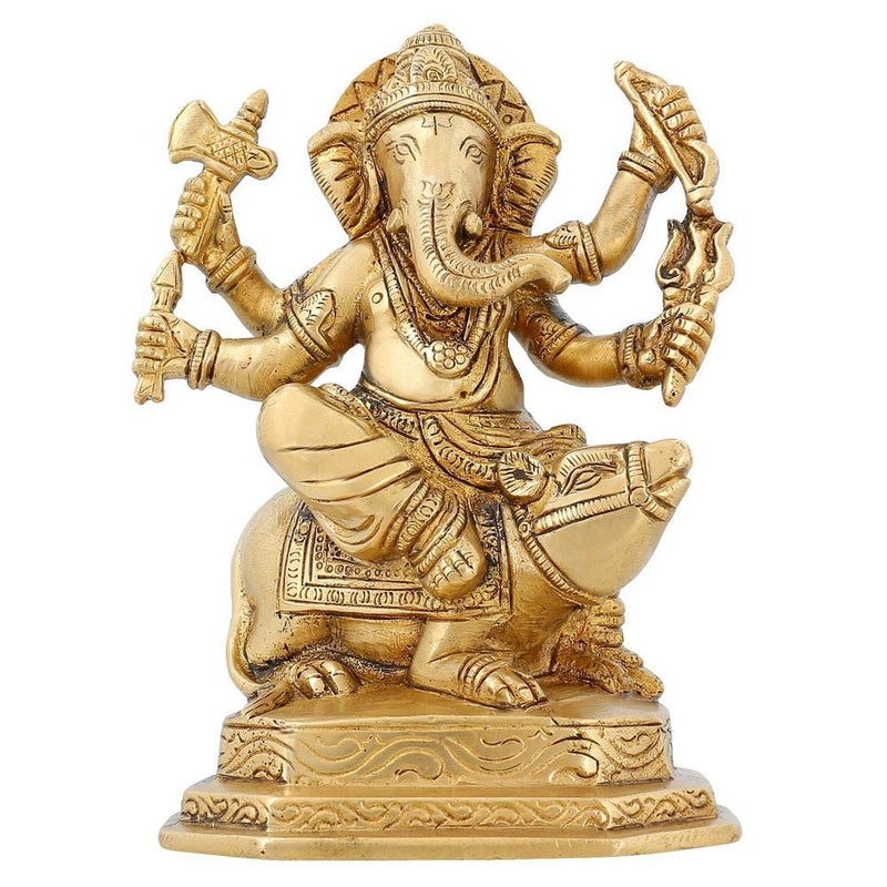Hinduism Spirituality Lord Ganesha Statue Brass Indian Temple For Home 6 inch