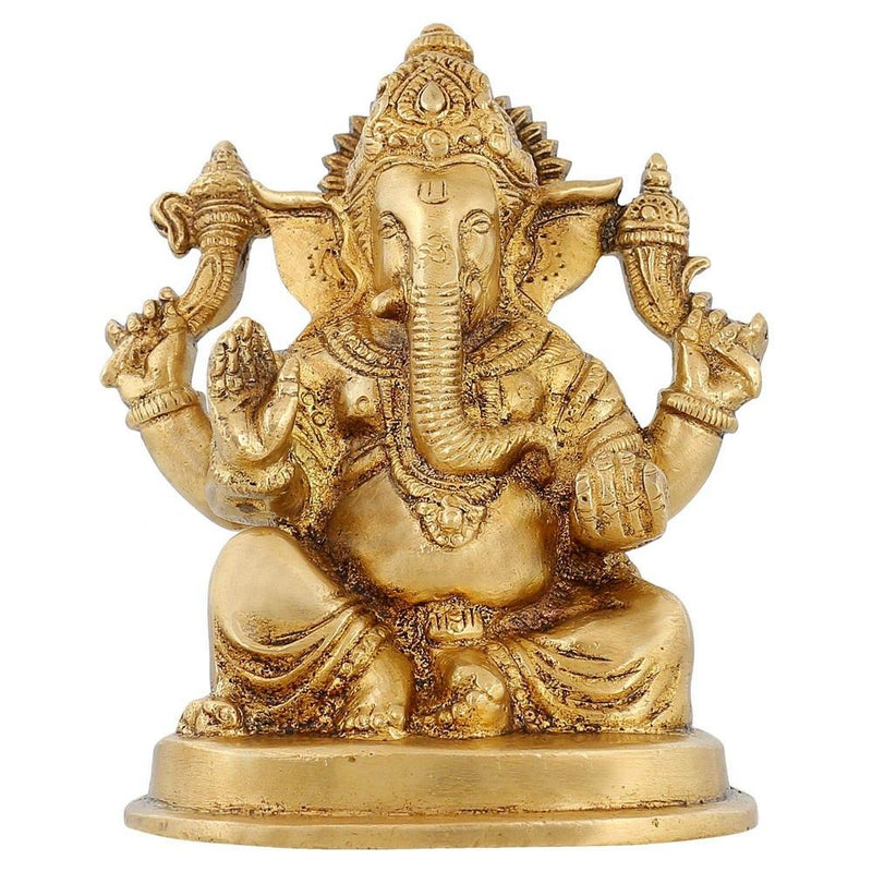 Hindusim In India Religious Décor Ganesh Statue Brass Hindu Temple Puja 4.5 inch