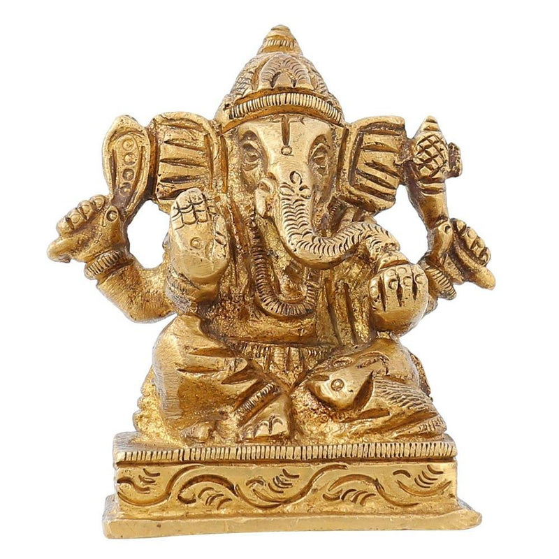 ShalinIndia Ganesha Sitting Posture Brass Sculpture - 2.75 inch X 2.5 inch X 1.5 inch - Brass - Perfect as Household Decor - An Excellent Gift for Any Occasion