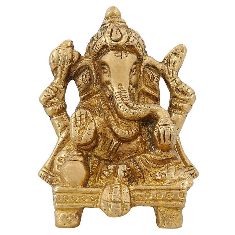 Religious Items Small Ganesha Statue For Gift Indian Home Decor Brass 2.75 inch by ShalinIndia