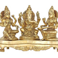 Handmade Indian Brass Ganesha Lakshmi & Saraswati Statue - Hindu Religious Items for Home Puja or Temple - 9.5 X 6 X 4 Inch - 3 Kg