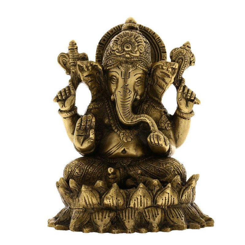 Brass Sculpture Ganesha Idol Hindu Figurine from India 5.5 Inches