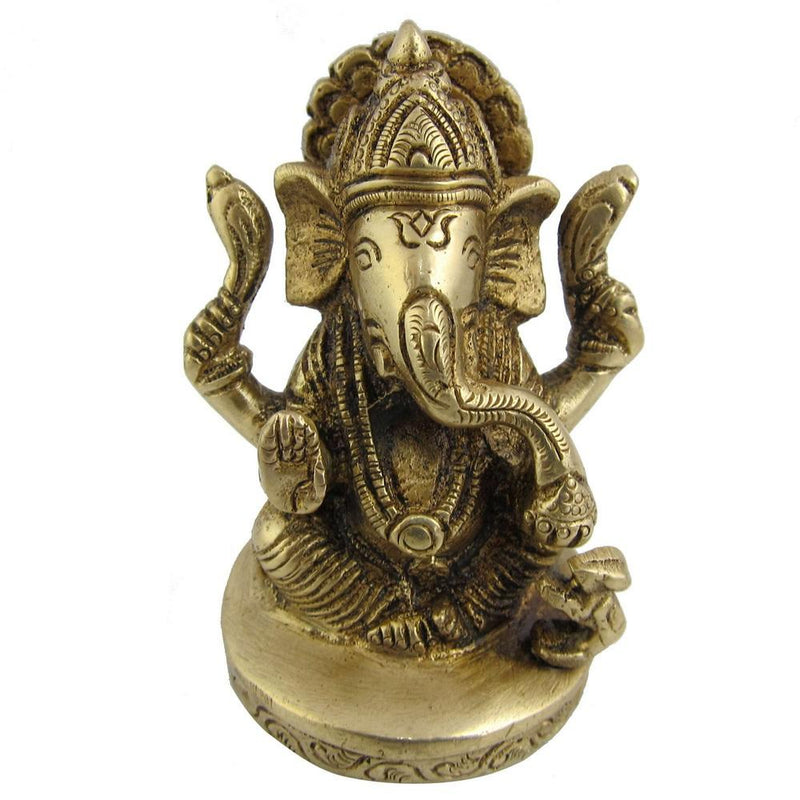 Religious Statue Brass Collectible Figurines God Ganesha 2 x 2 x 3 Inches