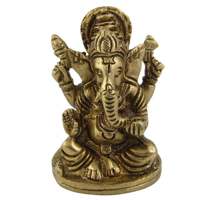 Statue Ganesh Collectible and Figurines Metal Brass 1.75 X 1.5 X 2.5 Inches