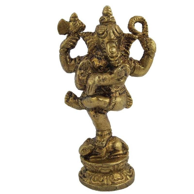 Statue Ganesh Statues and Sculptures Metal Brass 1 X 1 X 2.5 Inches