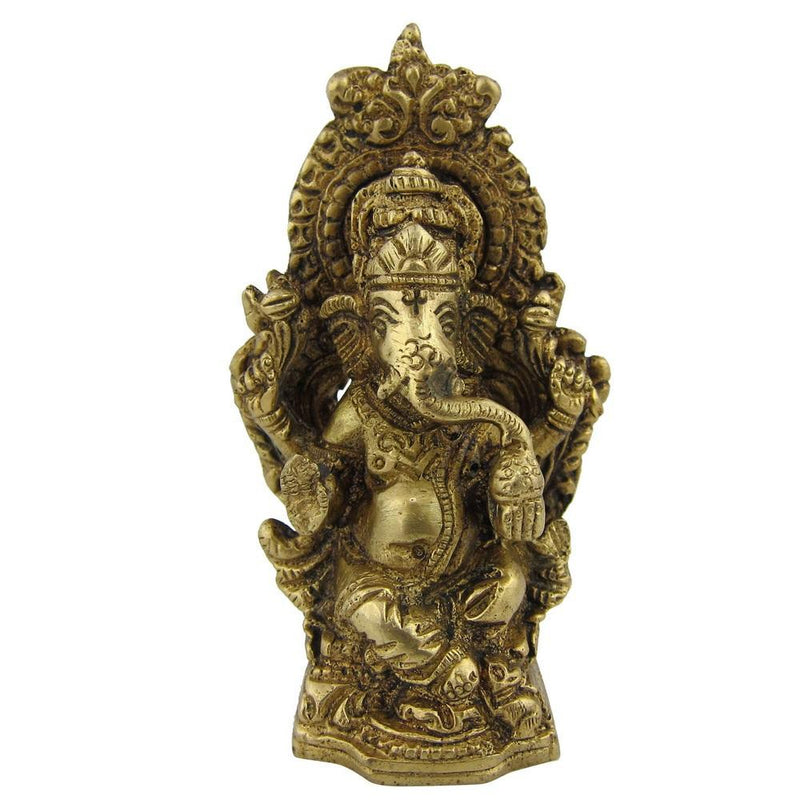 Statue Ganesh Colletibles and Sculptures Metal Brass 1.5 X 1.5 X 4.5 Inches