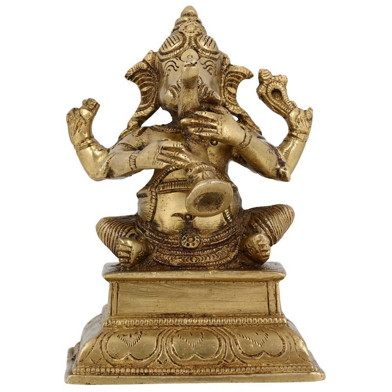 Brass Ganesha Seated Statue Playing Shehnai H: 13.97 Cm W: 0.7 Kg