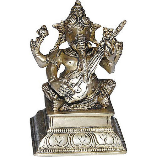 Sitting Ganesha Brass Statue Playing Shehnai Size: 10.16 x 13.97 x 7.62 Cm.