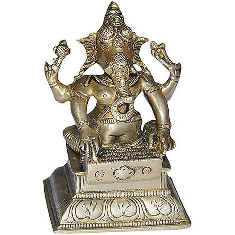 Handmade Indian Brass Gift Lord Ganesha Seated Statue Décor Pooja Mandir For Home