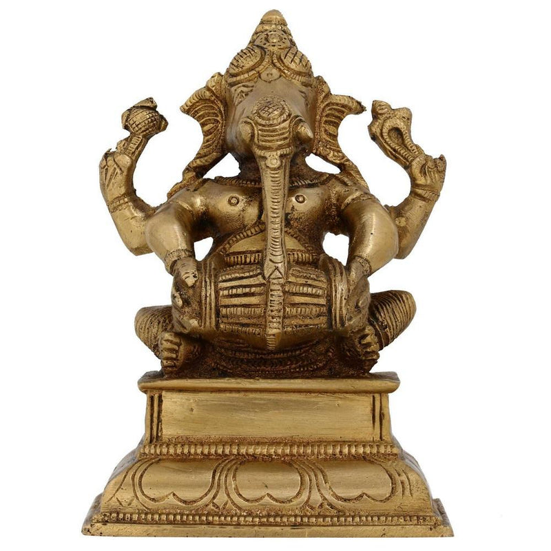 Handmade Indian Brass Sitting Ganesha Hindu God Brass Statue Playing Dholak Decorative Ganesh Statue