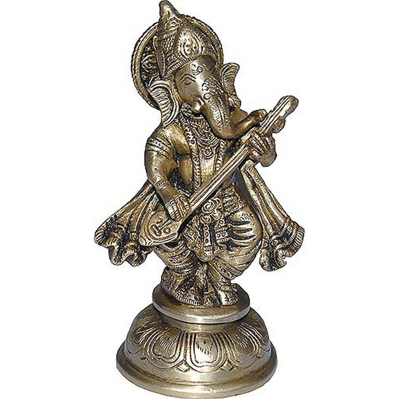 ShalinIndia Hindu God Ganesha Dancing and playing Bina Indian Home Décor Statue