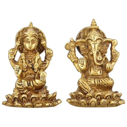 Hindu Goddess Lakshmi and God Ganesh Statue Brass Metal