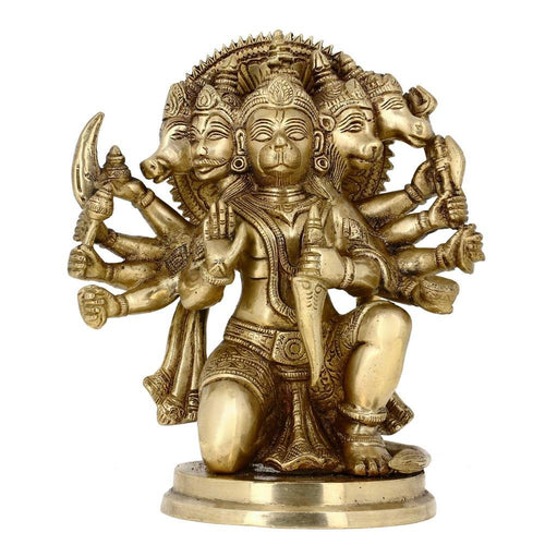 Seated Panchmuki Five Faces Lord Hanuman Statue Sculpture Hindu Idol 21.59 cmWeight ; 3.6 kg