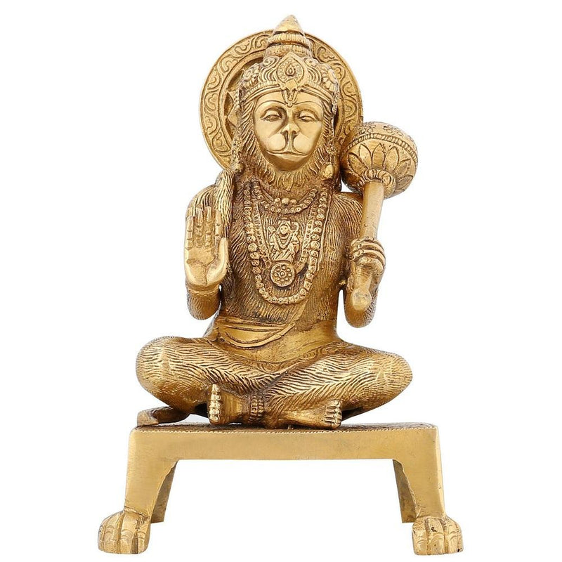 Indian Home Décor Sitting Brass Statue Hanuman For Hindu Puja 7.75 inch1.8 Kg