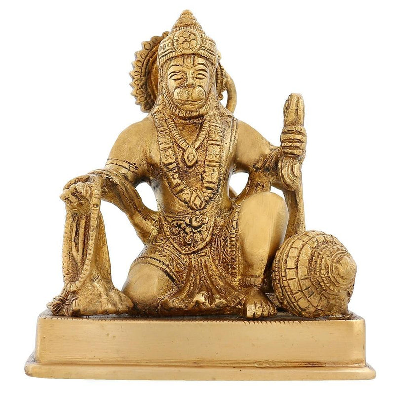 Religious Home Décor Brass Statue Hanuman Sitting For Puja Hinduism 5 inch1.8 Kg
