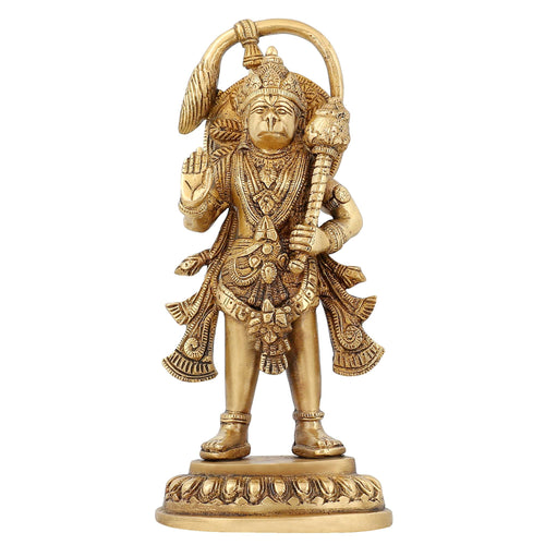Brass Statue Hanuman God Hindu Idol for Puja Mandir Temple Decor 9 inch,1.5 Kg