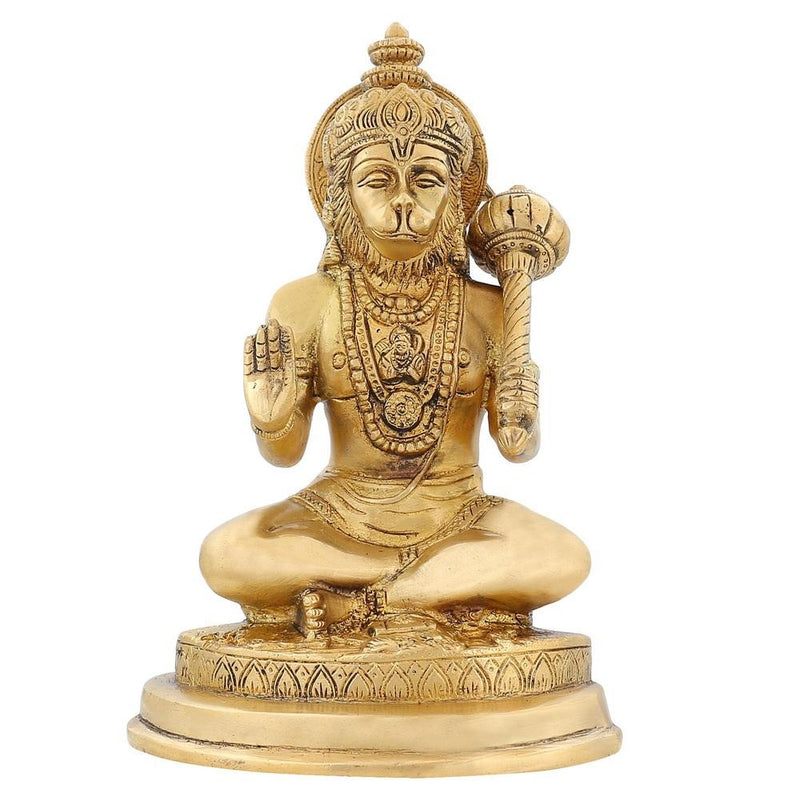 Hinduism Symbol Lord Hanuman Brass Figurines Indian Décor 7 inch For Mandir1.7 Kg