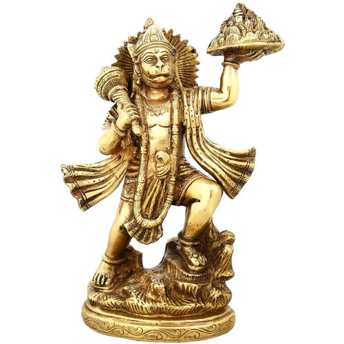 Hinduism Décor Standing God Hanuman Brass Statue Religious Gifts Indian 9.5 inch2.6 Kg