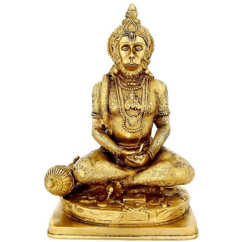 Religious Home Décor Brass Statue Seated God Hanuman For Puja Large 12 inch5.1 Kg