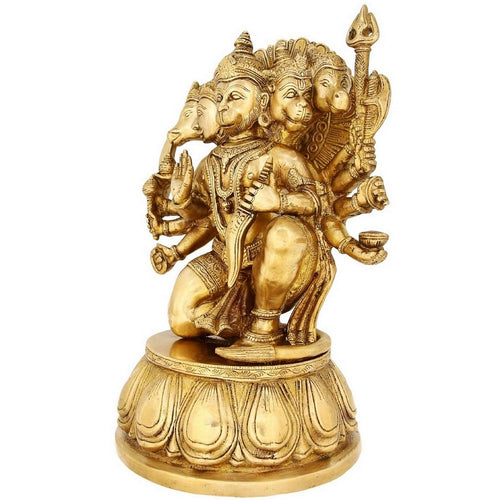 Religious Indian Décor Five Face Lord Hanuman Large Brass Figurines 13 inch7.4 Kg