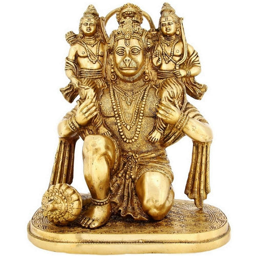 Hinduism Symbol Lord Hanuman With Lord Rama And Laxman Brass Figurines Large Indian Décor 12 inch8.9 Kg