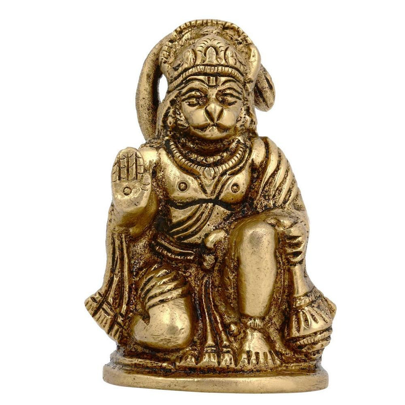 Indian Decor Hindu God Hanuman Statue Brass 2.2 Inches