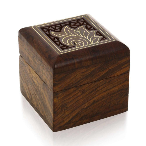 Handmade Indian Wooden Box for Jewelry - Wood Trinket Box-Perfect for Rings Earrings ToeRings  Cuff Links