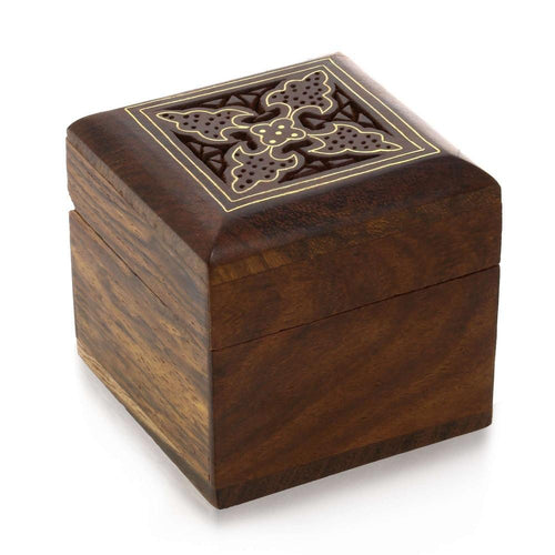 Indian Wooden Box for Jewelry - Perfect for Rings, Earrings, Toe Rings & Cuff Links - Wood Trinket Box