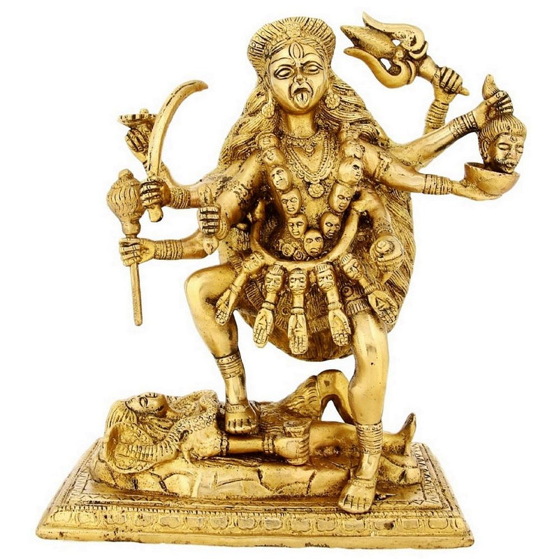 Brass Statue Of Ma Kali Hindu Goddess Idol For Puja 9.5 inch4.8 Kg