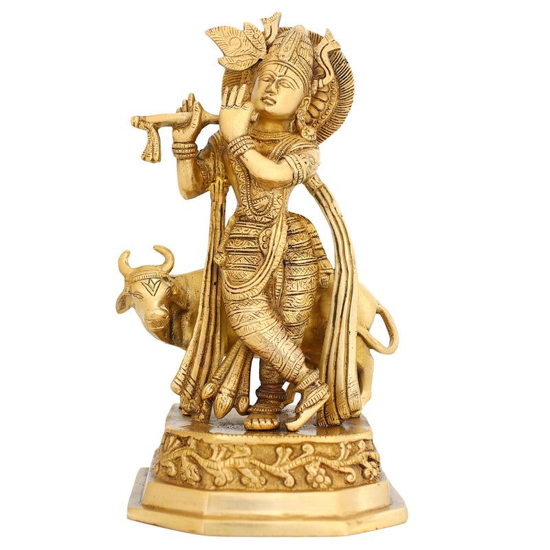 Figurine of Krishna Hindu God with His Cow Brass Metal Art 9.75 Inches