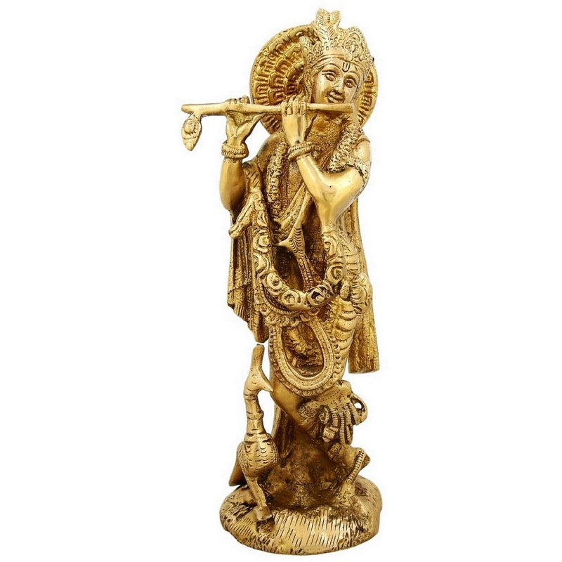 Hinduism Symbol Standing Lord Krishna With Peacock Playing Flute Brass Statue 9.5 Inch Weight-1.9 Kg