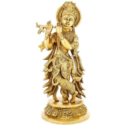 Large Brass Statue Of Lord Krishna Crossed Leg Playing Flute For Puja Mandir Temple 13 Inch Weight-3.3 Kg