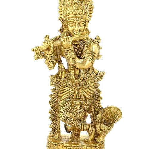 Shalinindia Hinduism Lord Krishna Playing Flute For Puja Religious Gifts7 Inch1.1 Kg