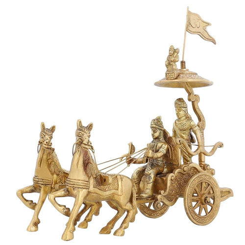 Indian Home Décor Brass Statue Lord Krishna Arjun Hanuman Horse 8 Inch1.5 Kg