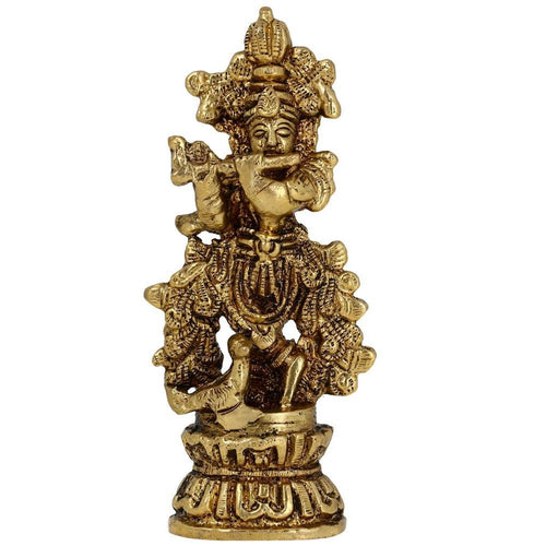 Brass Metal Sculpture Religious Statue of Hindu God Krishna Playing Flute