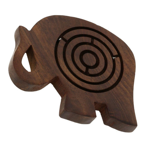 Wooden Game Labyrinth Puzzle Balls in Maze Elephant Toy by ShalinIndia