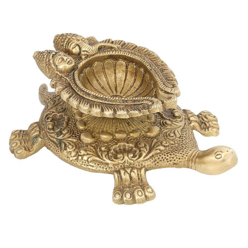 Turtle Shape Indian Wick Lamp Diya Ganesh Laxmi Puja Item Handmade Home Decorations Hinduism 2x5.75x3.5 Inch